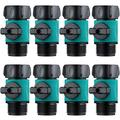 Plastic Garden Hose Connect Water Hose Turn Off Valve Garden Hose Connector Plastic Water Hose Connector with Shutoff Valve Set Fit for All Types of Garden Hoses Standard 3/4 Inch Thread (8)