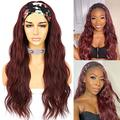 Sapphirewigs Loose Body Wavy Glueless Headband Wig Synthetic Hair Wigs for Black Women Wave None Lace Front Wigs Burgundy Red Color Machine Made Wigs 150% Density 26inch
