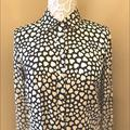 J. Crew Tops | J Crew Black White Hearts Button Down Silk Shirt | Color: Black/White | Size: 0