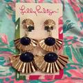 Lilly Pulitzer Jewelry   Lilly Pulitzer Coastal Shell Drop Clip On Earrings   Color: Blue/Gold   Size: Os