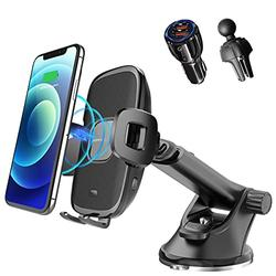 """[2021 Upgraded] Wireless Car Charger, 15W Qi Fast Auto-Clamping Wireless Charging Car Mount, Dashboard Air Vent Phone Mount, Compatible with iPhone12/11, Samsung, LG, Most Qi Enabled Phones(4-6.5"""")"""