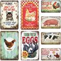 Affiche métallique rétro en fer, affiche de poulet, vache, chat, chien, coq, Animal, signe en étain,