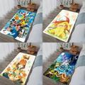 Tapis de flanelle imprimé pokémon, avec poche d'animal, Pikachu, pour porte de salle de bain,