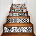Autocollant mosaïque de carreaux de Style arabe noir et blanc, autocollant mural 3D, couloir,