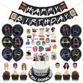 Ballons à thème de soirée télévisée avec amis, garniture de gâteau, bannière de joyeux anniversaire,