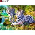 "HOMFUN – peinture diamant avec broderie, ""Animal white tiger"", décor en strass, carré ou rond,"