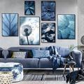 Toile de pissenlit succulente nature morte, photographie murale avec plante grise et bleue, affiche