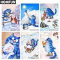 """HOMFUN – peinture diamant thème """"chat bleu de dessin animé"""", broderie complète 5D, perles rondes ou"""
