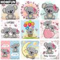 """HOMFUN – peinture diamant thème """"dessin animé koala"""", broderie complète 5D, perles rondes ou"""