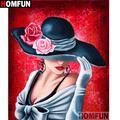 """HOMFUN – peinture diamant """"Flower hat beauty"""" 3D, broderie complète 5D, perles carrées ou rondes,"""