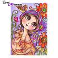 Ever Moment – peinture de diamant en point de croix, mosaïque de fille et de chat, à faire soi-même,