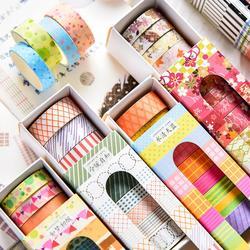 Bande adhésive Washi à rayures en grille 10 pièces/ensemble, bande adhésive décorative mignonne