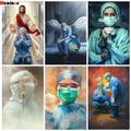 Kexinzu – peinture diamant 5d, Portrait d'ange infirmière médecins, broderie diamant, soldes, photos