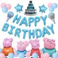 Décoration de fête Peppa Pig, thème de dessin animé, ensemble de ballons en aluminium Peggy George,