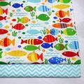 Tissu matelassé en coton sergé avec imprimé de poisson pour bébé, demi-mètre pour bricolage, drap de
