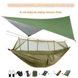 Hamac de Camping Portable avec moustiquaire et bâche de pluie, auvent en Nylon, Double hamac,