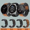 Bracelet en cuir pour montre Xiaomi Huami Amazfit GTR 47, Samsung galaxy Watch 3 45, accessoires