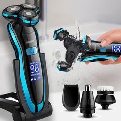 Rasoir électrique Rechargeable USB pour hommes, tondeuse à barbe, lavable, sec et humide, double