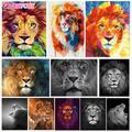 Gatyztoire – peinture à l'huile par numéros d'animaux Lion, décor mural peint à la main, toile,