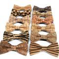 Nœud papillon de luxe en liège et bois pour hommes, accessoires de fête de mariage, à rayures en