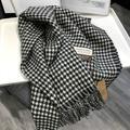 Foulard de luxe en cachemire sauvage pour femme, long, épais, noir, blanc, pied-de-poule, châle