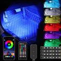 Bande lumineuse d'intérieur de voiture à 48/72 LED, USB, application de télécommande, lampe