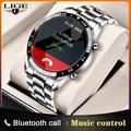 LIGE – montre connectée de luxe pour hommes, bracelet en acier, écran tactile, cercle complet,