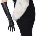 Gants Sexy pour écran tactile léopard pour femmes, en simili cuir, noir, 50cm de Long, fin, doigt