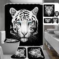 Rideau de douche avec tête de tigre imprimé en 3D, rideaux de bain, écrans de toilette imperméables,