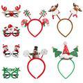 TOYANDONA 8 Pack Christmas Headbands Christmas Glasses Frames Christmas Costume Photo Props for Christmas Holiday Party Favors