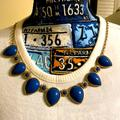 J. Crew Jewelry | Blue & Gold Tone Statement Necklace | Color: Blue/Gold | Size: Os