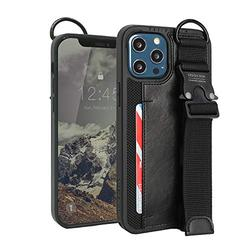 Design Skin Buckle Strap Designed for iPhone 12 Pro Max Case (2020), Kickstand Adjustable Hand Strap with Extra Grip Card Holder Wallet Compatible with iPhone 12 Pro Max Case (6.7 Inch) - Black
