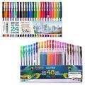 Color Gel Pens - Sets of 24 Gel Pens and 24 Glitter Gel Pens Plus 24 Refills - Gel Pens for Kids - Coloring Pens - Gel Pens Set - Pen Sets for Girls - Spirograph Pens - Artist Gel Pens - Sparkle Pens