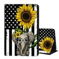 Case for All-New Kindle Fire HD 8 Case 2020, Fire HD 8 Plus Case (10th Generation,2020 Release),AIRWEE Slim Lightweight with Auto Sleep/Wake Folding Stand Smart Cover,Flag and Elephant