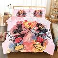 Mickey Mouse Bedding Sets Twin Toddler for Boys Girls Kids Minnie Bed Covers Duvet Soft Microfiber Bedding Comforter Cover 2Piece Including 1Duvet Cover,1Pillowcases P1, Pink