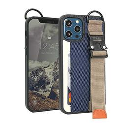 Design Skin Buckle Strap Designed for iPhone 12 Pro Max Case (2020), Kickstand Adjustable Hand Strap with Extra Grip Card Holder Wallet Compatible with iPhone 12 Pro Max Case (6.7 Inch) - Navy