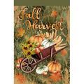 August Grove® Grebasch Fall Harvest Wheelbarrow 2-Sided Polyester 18 x 12 in. Garden Flag in Orange/Green | Wayfair