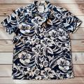 American Eagle Outfitters Shirts | Aeo Blue Print Button Camp Shirt | Color: Blue/Cream | Size: L