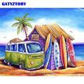 Gatyzory – kit de peinture par numéros sur toile, magnifique, de plage, cadre de bricolage, tableau