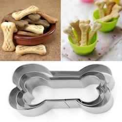3 Pièces/ensemble De Forme D'os de Chien Biscuit Moule de Biscuits En Acier Inoxydable Tranche