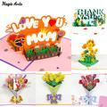 Cartes Pop-Up 3D pour la fête des mères, cadeau pour Bouquet de fleurs, œillets, cartes de vœux,