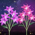 Solar Lights Outdoor - New Premium Material Outdoor Realistic Solar Powered Flower Lights, 2 Pack Solar Garden Stake Lights with 10 Lily Flower, LED Solar Landscape Lighting Light for Garden, Patio