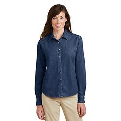 Port & Company Ladies Long Sleeve Value Denim Shirt, Small, Ink Blue
