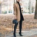 WQDS Stand-up Collar Woolen Ladies Wool Coat Solid Color Stitching Long-Sleeved Long Coat Retro Women's Coat Jacket-Khaki_M_China