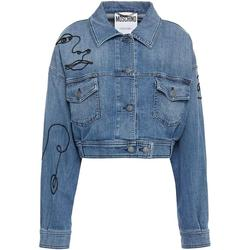 Cropped Embroidered Denim Jacket - Blue - Moschino Jackets