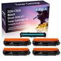 5 Pack (Black) Compatible CF232A 32A | CF230A 30A Laser Printer Toner Cartridge Printer Drum Unit use for HP Laserjet Pro M203d M203dn M203dw Printer(Drum, 4-Toner)