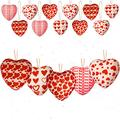 AMeek Red Heart Shaped Ornaments 15PCS Heart Ornaments for Valentine Tree, 5 Styles Fabric Wrapped Heart Tree Ornaments - 5cm/1.96inches Hanging Baubles Decorations for Home Christmas Wedding Party