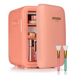 SAVOURIO Pink Mini Skincare Fridge - 10 Liter - Compact Portable Beauty Fridge for Bedroom, Office, Dorm, Car - Cooler and Warmer Great for Skincare & Cosmetics