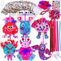 Winlyn 36 Sets Valentine's Day Monster Ornaments Decoration DIY Monster Wooden Ornaments Craft Kit Assorted Paintable Unfinished Wood Monster Cutouts Pom-Poms Googly Eyes Pipe Cleaners for Kids