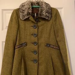 Free People Jackets & Coats | Free People Fur Trim Coat Jacket Size 2 | Color: Brown/Green | Size: 2